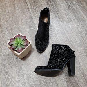 Zara Black Velvet Crystal Studded Booties Sz 38